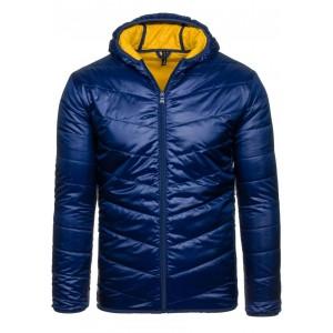 Modrá přechodná bunda s kapucňou