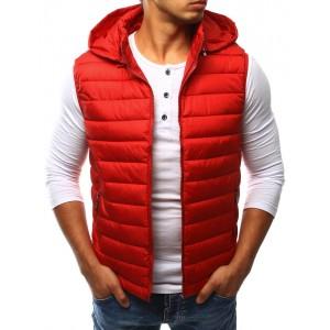 Podzimní pánská vesta červené barvy