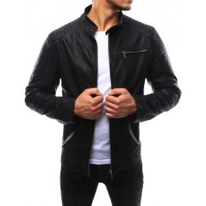 Elegantní pánská kožená bunda v černé barvě