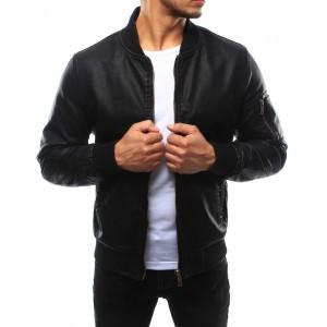 Černá kožená bunda pro pány