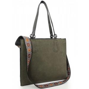 Moderní shopper kabelka zelené barvy