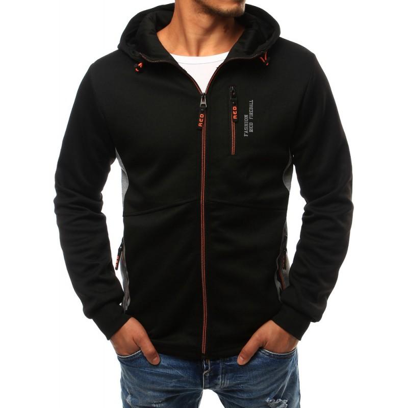 4a5adfa6b79 ... kapucí Moderní pánská mikina na zip v černé barvě. Předchozí