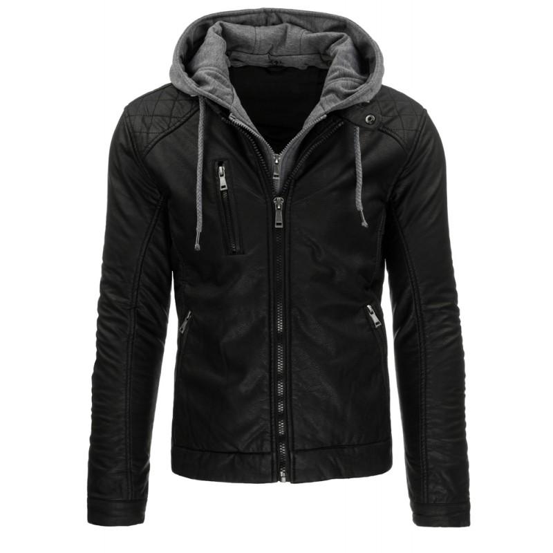 97853398dc ... bundy Černá pánská kožená bunda s kapucí. Předchozí