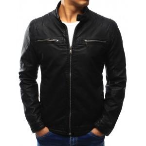 Kvalitní kožená bunda pro pány černé barvy