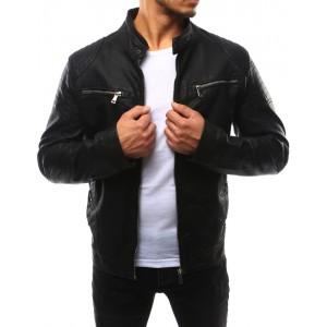 Moderní pánské kožené bundy černé barvy