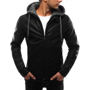Kožená bunda černé barvy s kapucí