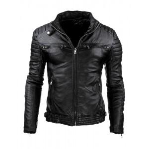 Kvalitní koženková bunda v černé barvě