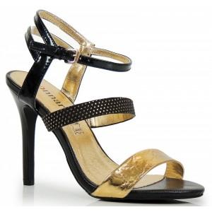 VELIKOST 40 Černé dámské sandály se zlatou aplikací
