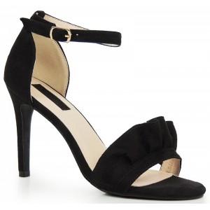 VELIKOST 40 Černé dámské sandály na podpatku semišové