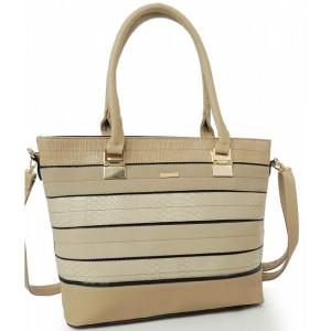 Dámská kabelka s přezkou béžové barvy