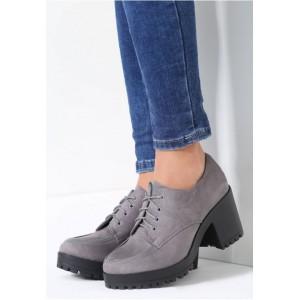 Tmavě šedé dámské šněrovací boty na podzim