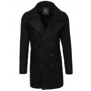 Pánský kabát se zapínáním na knoflíky černé barvy