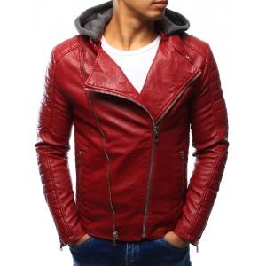 Pánská kožená bunda červené barvy