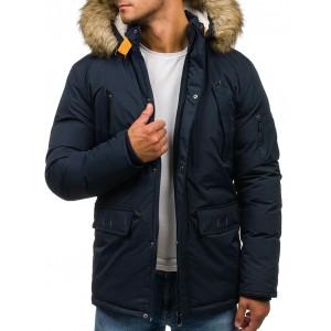Zimní pánská bunda s kapucí v tmavě modré