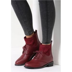 Kotníkové dámské boty červené barvy