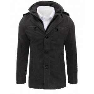 Tmavě šedý pánský kabát na zimu