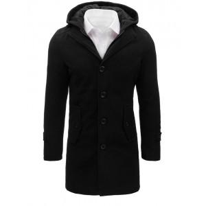 Černý pánský kabát s kapucí