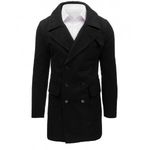 Dlouhý pánský zimní kabát v černé barvě