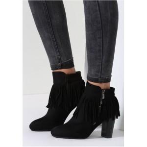VELIKOST 40 Elegantní kotníkové boty v černé barvě semišové