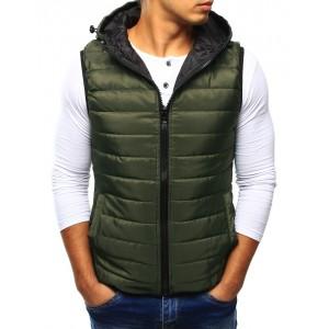 Pánská přechodná vesta zelené barvy
