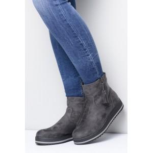 Šedá dámská semišová obuv na zimu