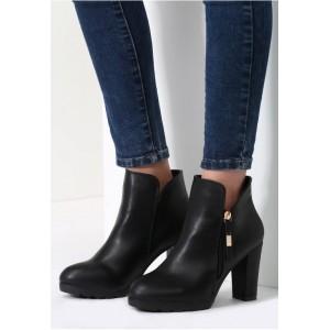 Dámské kotníkové zimní boty v černé barvě