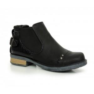 Zateplené dámské kotníkové boty černé barvy