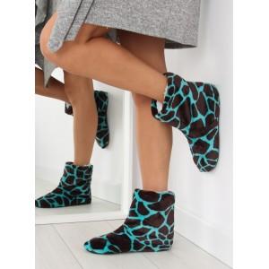 Vzorované dámské pantofle světlemodré barvy