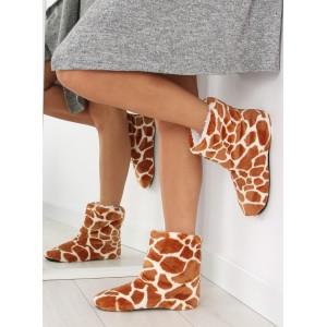 Vzorované dámské pantofle v hnědé barvě