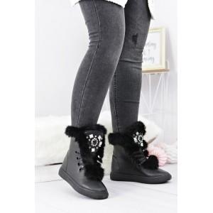 Módní dámská zimní obuv v černé barvě