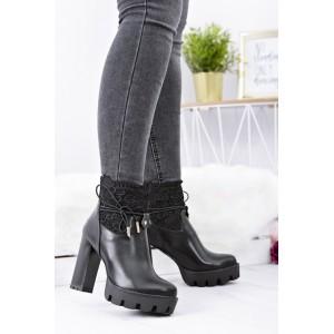 Černá dámská zimní obuv na platformě
