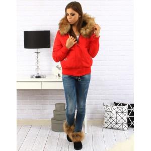 Dámská zimní bunda v červené barvě