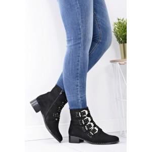 Černé dámské kotníkové boty s přezkami