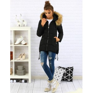 Černé dámské zimní bundy s kožešinou