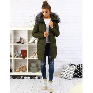 Zelená dámská zimní bunda s kožešinou