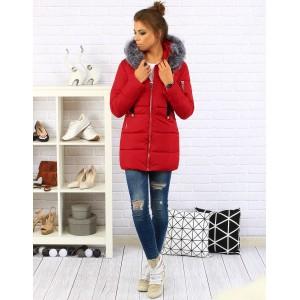 Elegantní dámská zimní bunda červené barvy