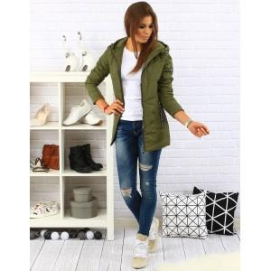 Dlouhá dámská přechodná bunda zelené barvy