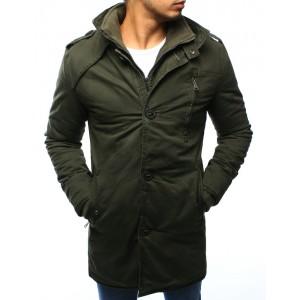 Zelená pánská zateplená bunda bez kapuce