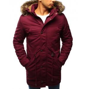 Bordó pánská zimní bunda s kapucí