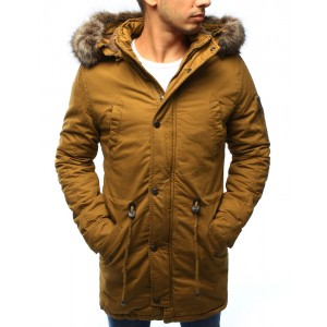 Žlutá pánská zimní bunda s kapucí