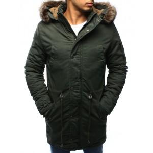 Tmavě zelená pánská zimní bunda s kožešinou