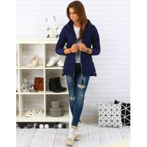 Dámská prošívaná podzimní bunda modré barvy