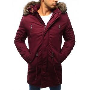 Bordó pánská zimní bunda s kožešinou
