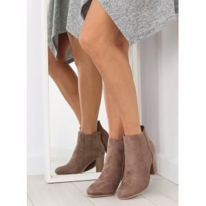 Béžová dámská zimní obuv na vysokém podpatku