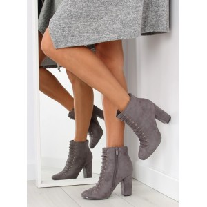 Šedé dámské kotníkové boty na šněrování