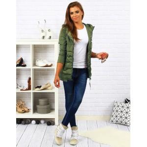 Zelená dámská podzimní bunda na zip
