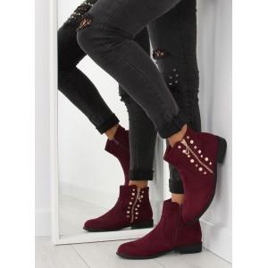 Dámské kotníkové boty v bordové barvě