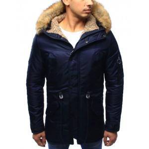 Tmavě modrá pánská zateplená bunda s kapucí