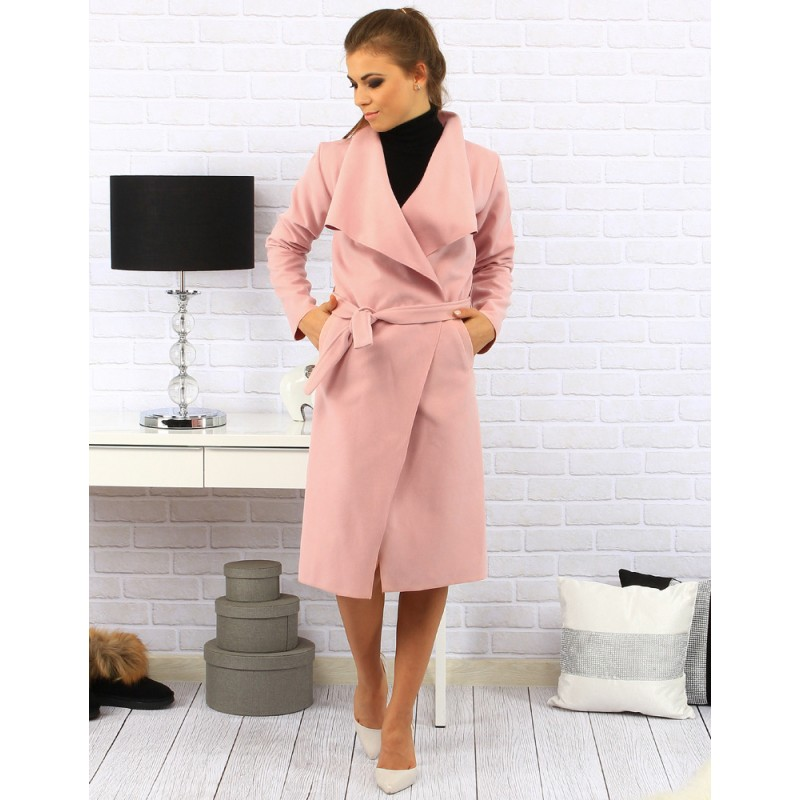 0c87c4e03932 Dlouhé dámské kabáty růžové barvy - manozo.cz