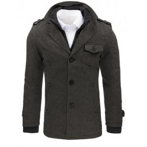 Pánský zimní kabát v šedé barvě